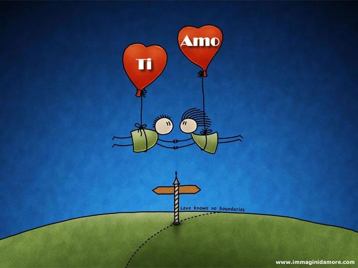 Immagine d 39 amore con due innamorati con palloncini di cuori for Foto bellissime